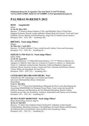 PALMBAUM-REISEN 2012 - quartus-Verlag
