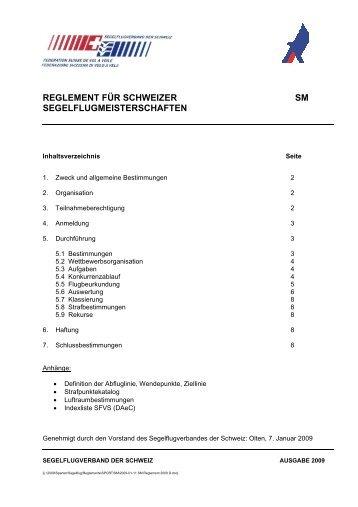 Reglement für Schweizer Segelflugmeisterschaften Ausgabe 2009