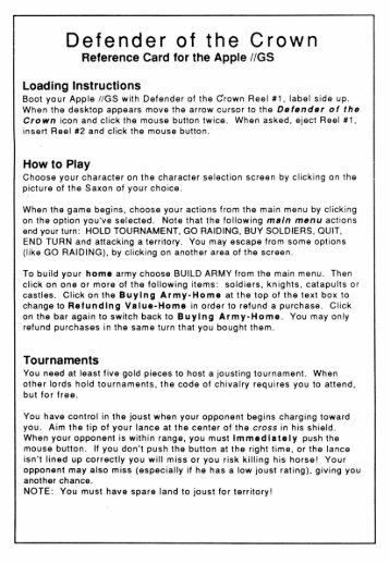 Defender of the Crown - Reference Card.pdf - Virtual Apple