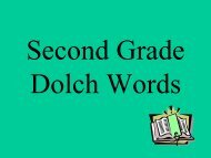 Second Grade Dolch words