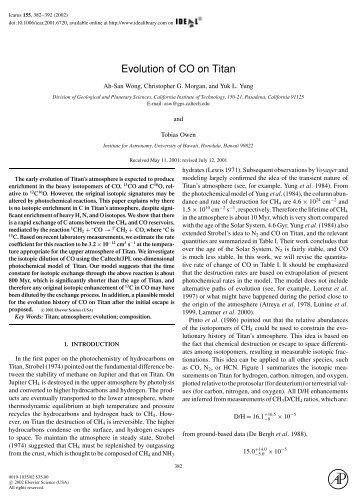 Evolution of CO on Titan - Caltech