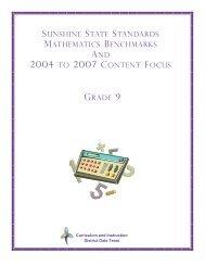 sunshine state standards mathematics benchmarks and 2004 to ...