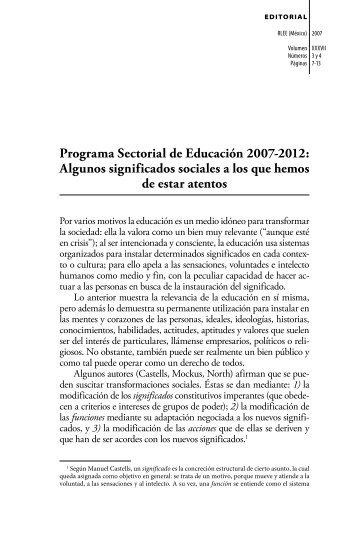 Programa Sectorial de Educación 2007-2012: Algunos significados ...