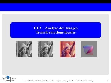 UE3 – Analyse des Images Transformations locales - IUT