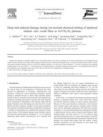Deep etch-induced damage during ion-assisted chemical etching of ...