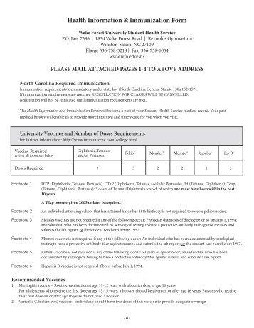 Certificate of Immunization form - Global Education Office
