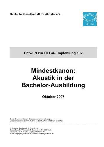 Mindestkanon: Akustik in der Bachelor-Ausbildung - Deutsche ...