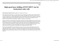 High-speed laser drilling of EWT/MWT vias for ... - RPMC Lasers
