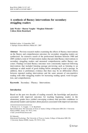 A synthesis of fluency interventions for secondary ... - ResearchGate
