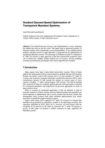 Gradient Descent Based Optimization of Transparent Mamdani ...