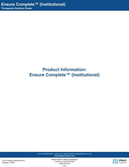 Ensure Complete™ (Institutional) - Abbott Nutrition
