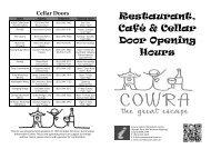 Restaurant, Café & Cellar Door Opening Hours - Cowra Tourism