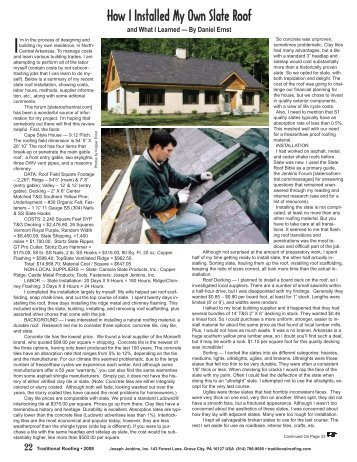 How I installed my own slate roof. - Traditional Roofing Magazine