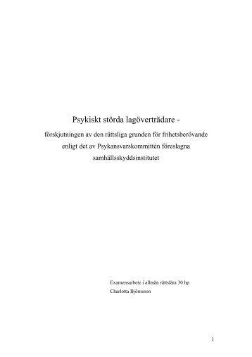 Psykiskt störda lagöverträdare - - Juridicum - Stockholms universitet