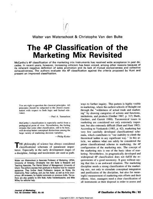marketing mix theory
