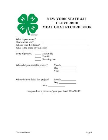 NEW YORK STATE 4-H CLOVERBUD MEAT GOAT RECORD BOOK