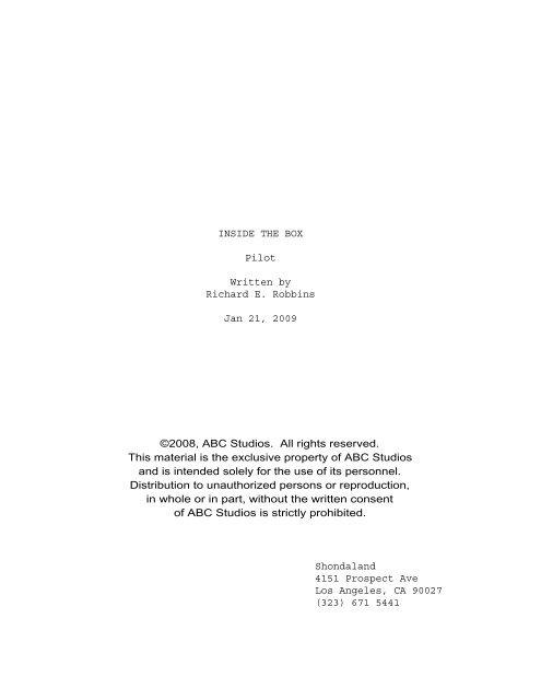 INSIDE THE BOX Pilot Written by Richard E. Robbins ... - Zen 134237