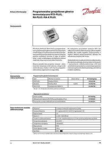 Programowalne grzejnikowe głowice termostatyczne RTD ... - Danfoss