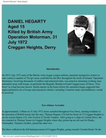 Operation Motorman - Danny Hegarty - CAIN