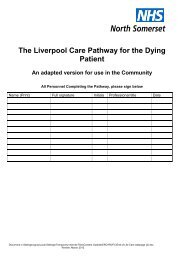 Liverpool Care Pathway for the Dying Patient - NHS North Somerset