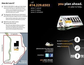 you plan ahead. 414.229.6503 - UW-Milwaukee
