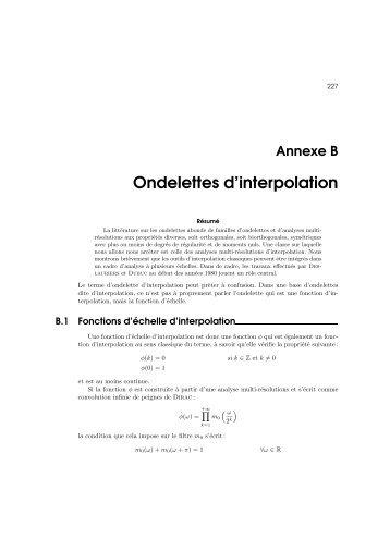 Ondelettes d'interpolation