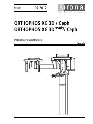 ORTHOPHOS XG 3D / Ceph ORTHOPHOS XG 3D ... - Sirona Support