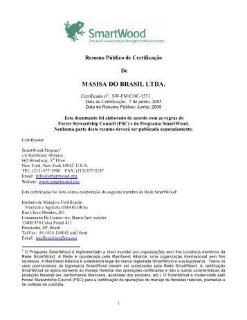 MASISA DO BRASIL LTDA. - Rainforest Alliance