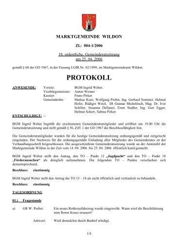 Protokoll der 10. Gemeinderatssitzung - Marktgemeinde Wildon
