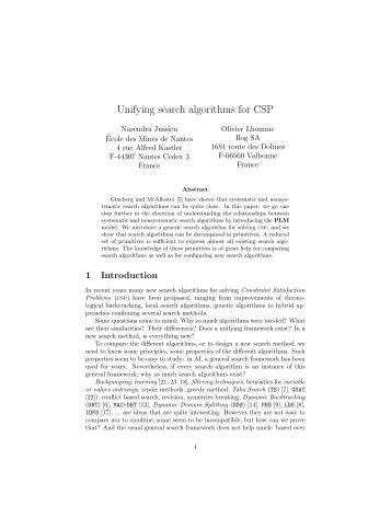 Unifying search algorithms for CSP - Ecole des mines de Nantes