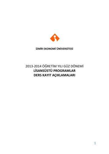1 2013-2014 öğretim yılı güz dönemi lisansüstü programlar ders ...