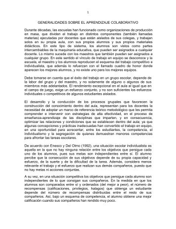 GENERALIDADES SOBRE EL APRENDIZAJE COLABORATIVO ...
