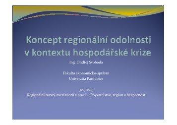 Koncept regionální odolnosti v kontextu ... - Regionální rozvoj