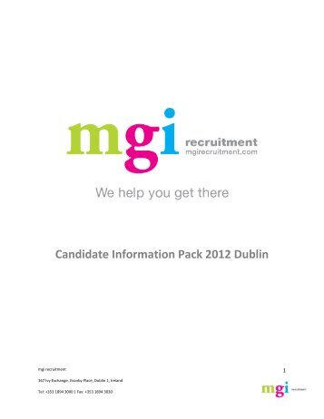 Candidate Information Pack 2012 Dublin - MGI Recruitment