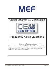 Carrier Ethernet 2.0 Certification FAQs 2012/05/01 - MEF