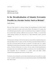 Is the Deradicalisation of Islamist Extremists Possible in a Secular ...