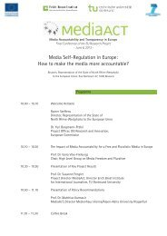 Media Self-Regulation in Europe: How to make the ... - MediaAcT