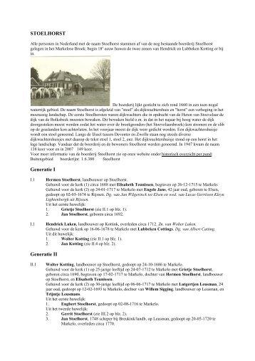 STOELHORST Generatie I Generatie II - De Hofmarken