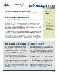 Points saillants du budget Incidences du budget pour les particuliers