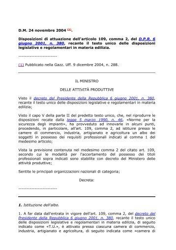 D.M. 24 novembre 2004 (1). Disposizioni di attuazione dell'articolo ...