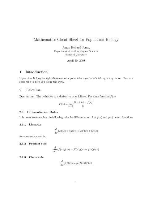 Mathematics Cheat Sheet for Population Biology - Stanford University