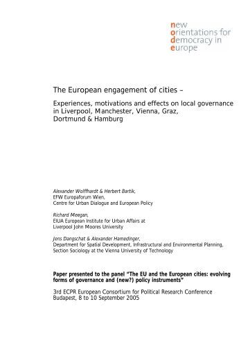 The European engagement of cities – - Documentation Centre on ...