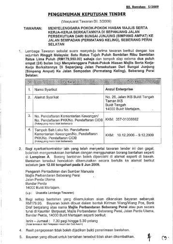 pengumuman keputusan tender - Majlis Perbandaran Seberang Perai