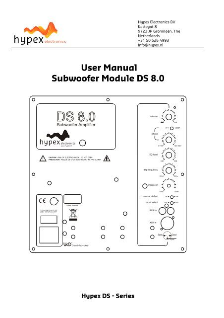 User Manual Subwoofer Module DS 8 0 - Hypex