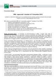 BNL: approvati i risultati al 31 dicembre 2010 - BNP Paribas