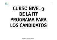 PROGRAMA DEL CURSO NIVEL 3 DE LA ITF 1