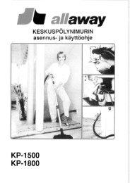 KP-1500-, KP-1800-keskuspölynimurin asennus- ja käyttöohje