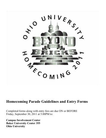 Homecoming Parade Guidelines and Entry Forms - Ohio University ...