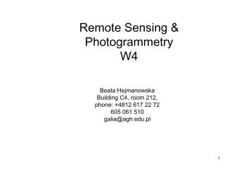 Remote Sensing & Photogrammetry W4 - AGH