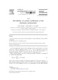 Divisibility of Certain Coefficients of the Chromatic Polynomials - NIE ...